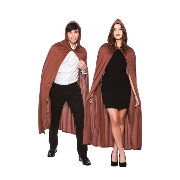 Brown Adult Hooded Cape 132cm Accessory Fancy Dress